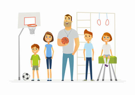 Photo pour Physical education lesson at school - modern cartoon people characters illustration - image libre de droit
