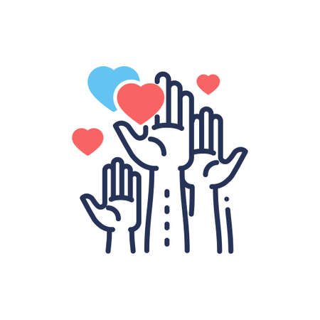Illustration pour Volunteering - modern vector line design single icon. - image libre de droit