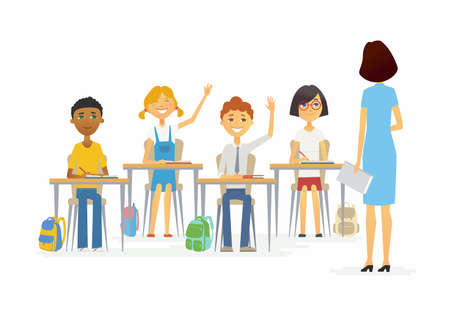 Illustration pour Lesson at school - cartoon people characters illustration. - image libre de droit