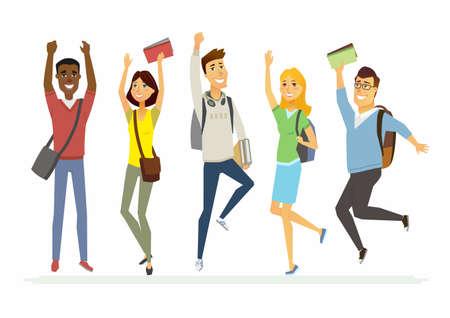 Ilustración de Happy jumping senior school students - cartoon people characters isolated illustration - Imagen libre de derechos