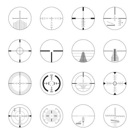 Set of sniper sights - modern vector realistic isolated clip art