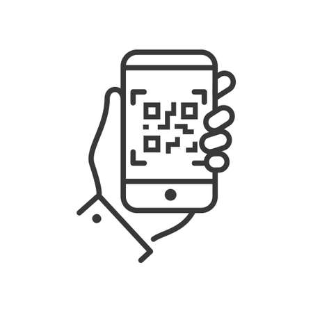 Ilustración de QR code scanner - line design single isolated icon - Imagen libre de derechos