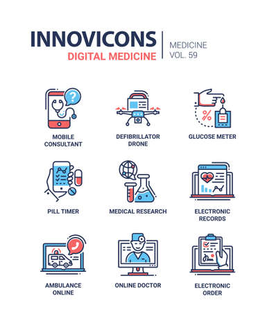 Illustration pour Digital medicine - line design icons set - image libre de droit