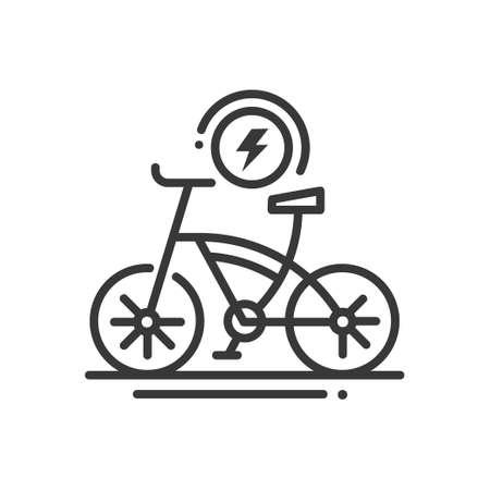 Illustration pour Electric bike - line design single isolated icon - image libre de droit