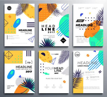 Ilustración de Set of presentation booklet covers on bright tropical background. - Imagen libre de derechos