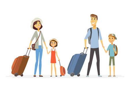 Ilustración de Family on holiday - cartoon people characters isolated illustration - Imagen libre de derechos