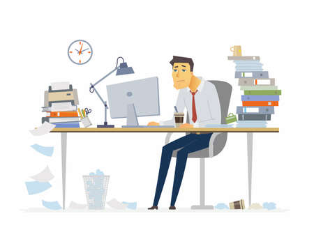 Illustration pour Tired office worker - modern cartoon people characters illustration on white background. Young man sitting at the desk and drinking coffee. A workplace with a lot of papers, folders. Deadline concept. - image libre de droit