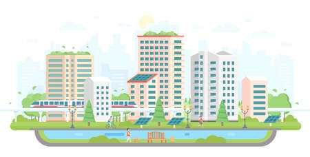 Illustration pour Cityscape with solar panels modern flat design style vector illustration - image libre de droit