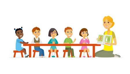 Illustration pour International kindergarten - cartoon people characters isolated illustration - image libre de droit
