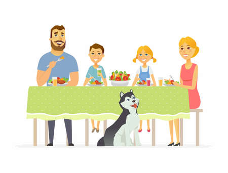 Illustration pour Happy family having dinner together - modern cartoon people characters illustration - image libre de droit