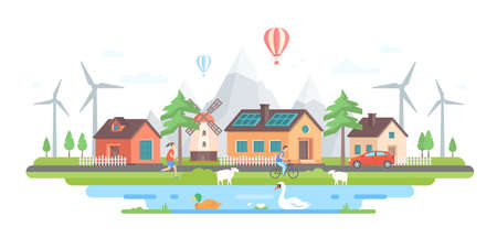 Illustration pour Eco-friendly village in modern flat design style vector illustration. - image libre de droit