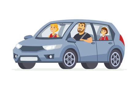 Ilustración de Family in the car - cartoon people character isolated illustration - Imagen libre de derechos