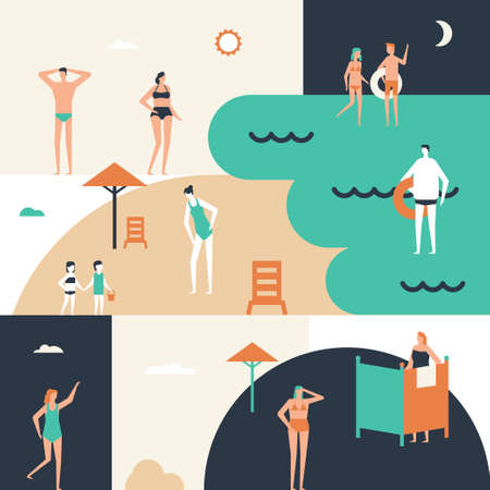 Beach holiday - flat design style conceptual illustration