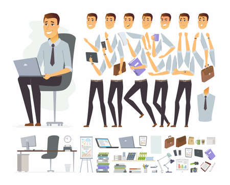 Ilustración de Businessman at work - vector cartoon people character constructor - Imagen libre de derechos