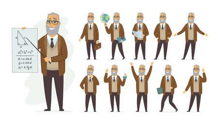 Illustration pour Teacher - vector cartoon people character set - image libre de droit
