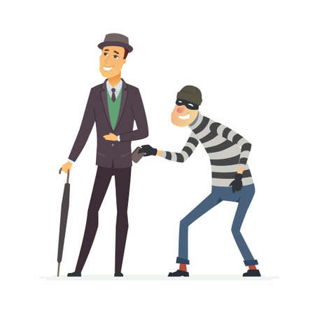 Pickpocket stealing wallet - cartoon people characters illustration