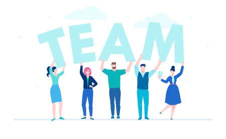 Illustration pour Creative team - flat design style colorful illustration on white background. A composition with businessmen, cute office workers holding big letters. Nice blue colors. Teambuilding concept - image libre de droit