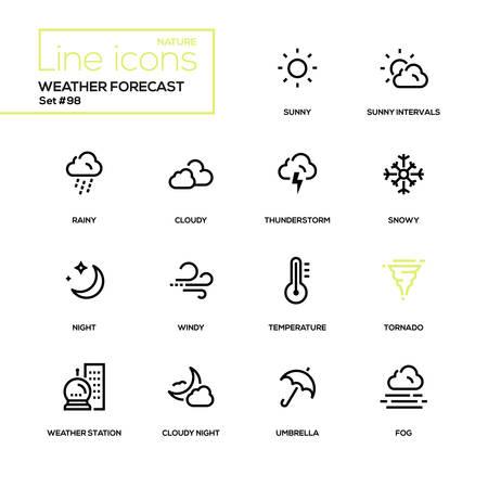 Illustration pour Weather forecast - modern line design icons set. High quality black pictograms. Sunny, rainy, cloudy, thunderstorm, snowy, night, windy, temperature tornado weather station umbrella fog - image libre de droit