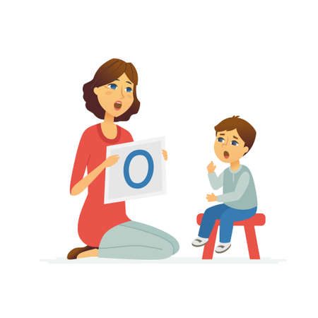 Illustration pour Speech therapist - cartoon people characters illustration isolated on white background. Young female specialist teaching a kid how to pronounce a vowel, articulate. Child sitting on a stool - image libre de droit