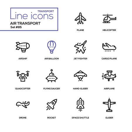 Photo for Air transport - line design icons set - Royalty Free Image