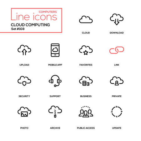 Ilustración de Cloud computing - modern line design icons set. High quality pictograms. Download, upload, mobile app, favorites, link, security, support, business, private, photo, archive, public access, update - Imagen libre de derechos