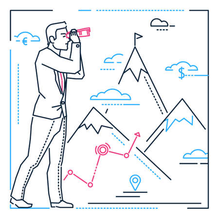 Illustration pour Businessman looking forward - line design style illustration on white background with silhouettes of mountains, money, geo-tags. A person examining view with a binocular, planning his future - image libre de droit