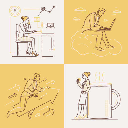 Illustration pour Office life - set of line design style illustrations on white and yellow background. Four images of confident woman and man. Coffee break, ambition, working with laptop, time management themes - image libre de droit