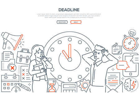 Illustration pour Deadline - line design style vector web banner on white background with copy space for text. Stressed male, female office workers standing next to big clock. Images of megaphone, hourglass, timer - image libre de droit
