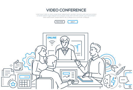 Illustration pour Video conference - modern line design style banner on white background with copy space for text. Male, female business colleagues discussing the project with a distance partner via telecommunication - image libre de droit