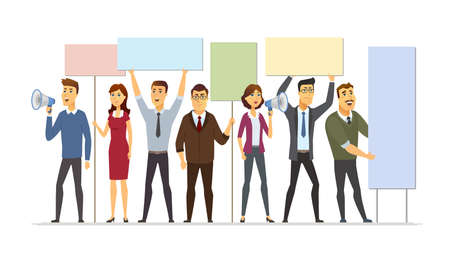 Illustration pour Business people on strike - modern cartoon people characters illustration isolated on white background. A composition with man, male workers holding boards, shouting with loud speakers, protesting - image libre de droit