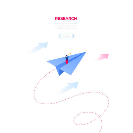 Ilustración de Business research - modern isometric vector web banner on white background with copy space for text. High quality illustration with businessman flying on a paper plane, looking through a binocular - Imagen libre de derechos