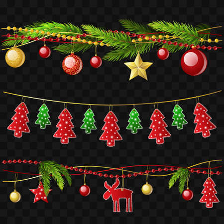 Ilustración de Christmas garlands - set of modern vector realistic isolated elements - Imagen libre de derechos