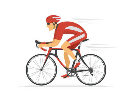 Ilustración de Cycling - modern colorful vector cartoon character illustration on white background. High quality composition with young man in sportive clothes, helmet, riding a bicycle. Healthy lifestyle - Imagen libre de derechos
