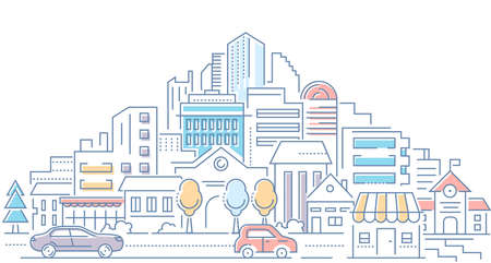 Illustration pour Real estate - modern line design style vector illustration on white background. High quality composition with cityscape, housing complex, buildings, shops, cars on the road. Urban architecture - image libre de droit