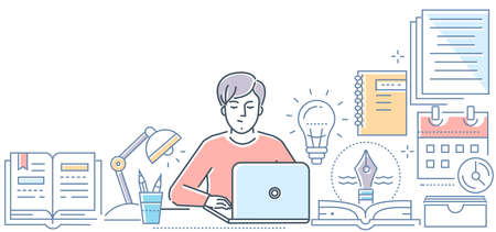 Illustration pour Copywriting - modern line design style vector illustration on white background. High quality composition with a young male freelance specialist working at the laptop. Creative writing concept - image libre de droit