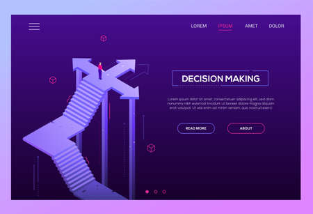 Ilustración de Decision making - modern isometric vector website header on purple background with copy space for your text. High quality banner with businessman standing on the crossroads, trying to make choice - Imagen libre de derechos