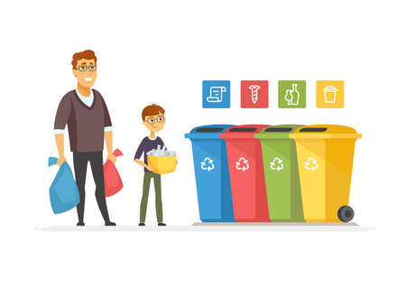 Illustration pour Recycling concept - modern cartoon people characters illustration. High quality colorful composition with father and son taking out litter to different colored bins. Waste sorting, eco concept - image libre de droit