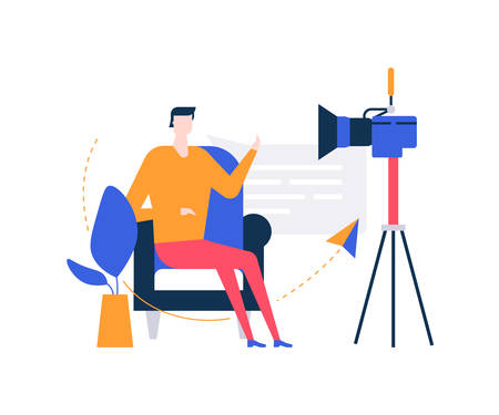 Ilustración de Video blogger - colorful flat design style illustration on white background. Unusual composition with a creative man streaming online in front of the camera, sitting on a chair, talking - Imagen libre de derechos