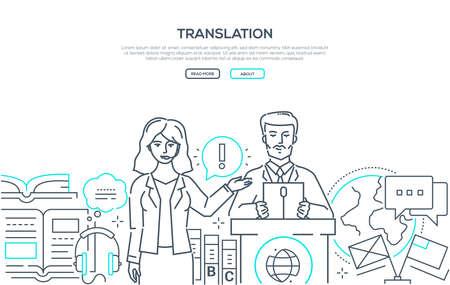 Illustration pour Translation - modern line design style web banner - image libre de droit