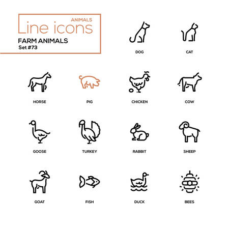 Illustration pour Farm animals - line design style icons set. High quality black pictograms. Dog, cat, horse, pig, chicken, cow, goose, turkey, rabbit, sheep, goat, fish, duck, bees - image libre de droit