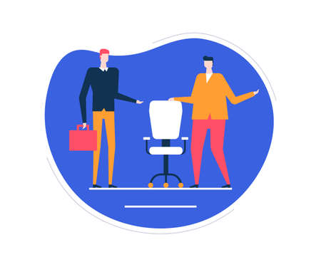 Ilustración de Available vacancy - flat design style colorful illustration on white background. Unusual composition with male HR managers searching for a candidate, new employee, showing the free chair, workplace - Imagen libre de derechos
