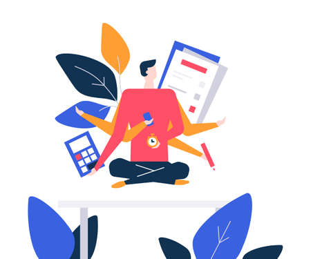 Illustration pour Mindfulness at work - colorful flat design style illustration on white background. Composition with a businessman, male manager meditating in the office, trying to release stress. Multitasking concept - image libre de droit