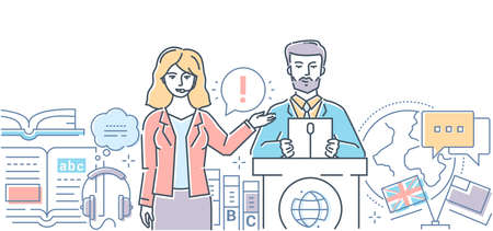Illustration pour Translation - modern line design style web banner on white background. A colorful composition with a female interpreter translating speech of the man on the international conference, business meeting - image libre de droit