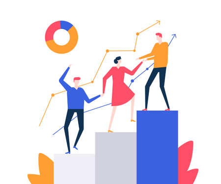 Ilustración de Motivation - colorful flat design style vector illustration on white background. Quality composition with a business team, male and female colleagues climbing a diagram sectors, helping each other - Imagen libre de derechos