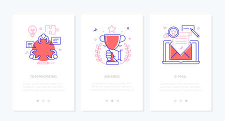 Illustration pour Business - set of line design style vertical web banners with copy space for text. Images of a people at the meeting, trophy, laptop with a letter. Teamwork, awards, email marketing concepts - image libre de droit
