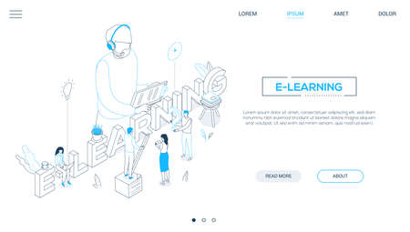 Illustration pour E-learning concept - line design style isometric web banner on white background with copy space for text. A header with students making notes, teacher in headset with clipboard. Online education theme - image libre de droit