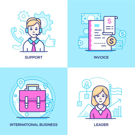 Illustration pour Business - set of line design style colorful illustrations. Images of call center operator, receipt, suitcase, female manager. Technical support, invoice, international communication, leader concepts - image libre de droit