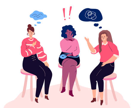Ilustración de Group therapy - modern colorful flat design style illustration on white background. A composition with unhappy women sharing their emotions and feelings. Psychological problems concept - Imagen libre de derechos