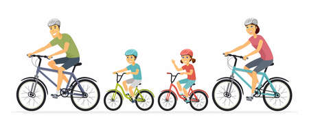 Ilustración de Parents and children cycling - cartoon people characters illustration on white background. Mother, father with kids going on a ride on bicycles, having a good time. Family, healthy lifestyle concept - Imagen libre de derechos