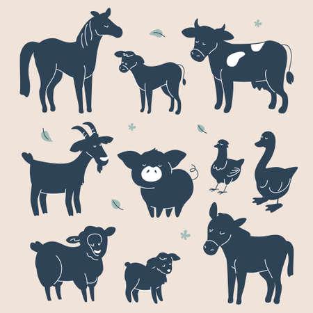 Photo pour Cute farm animals silhouettes - flat design style set of characters - image libre de droit
